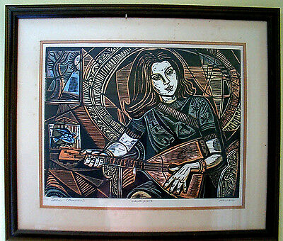 IRVING AMEN SIGNED FRAMED 1/1 ARTISTS PROOF Lithograph LETITIA (MUSICIAN)