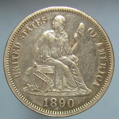 1890 Liberty Seated Dime - Nicely Toned AU