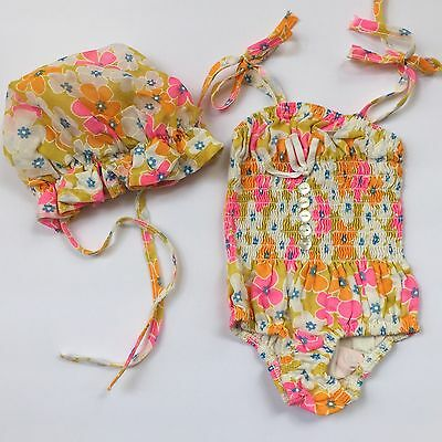 Vtg 60s Smocked Orange Pink Floral Mod Groovy Sunsuit Romper Bonnet Baby Girl