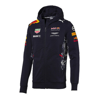 Red Bull Racing F1 Official Men's Teamline Team Hooded Sweat Jacket - 2017