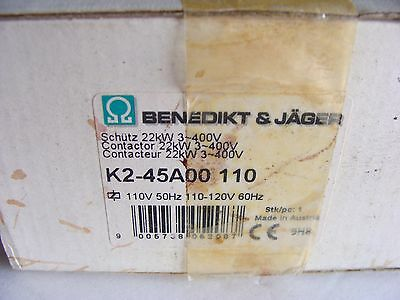 Benedikt & Jager 45 Amp Contactor NEW in BOX   K2-45A00-110  40HP 110V coil 3PH