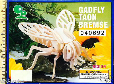 3D FLY/Gadfly Puzzle/Wooden Model EASY-TO-ASSEMBLE & PAINT!  Ages 6+ NICE L@@K!