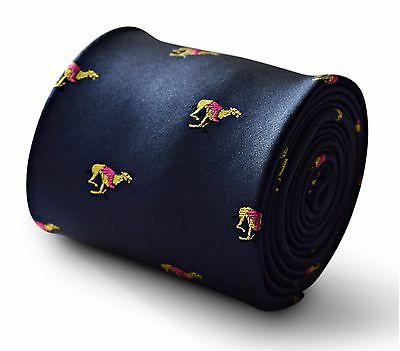 Navy Blue Mens Tie with Racing Greyhound Print by Frederick Thomas FT3340