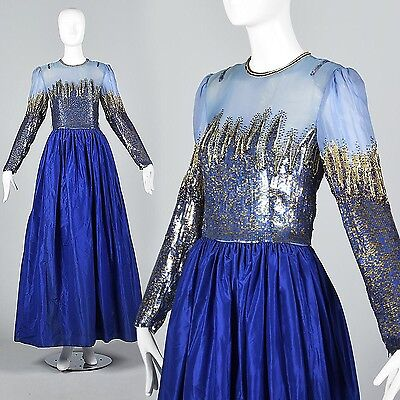 S Vintage 1970s 70s Royal Blue Formal Dress Ball Gown Sequin Beaded Evening Gala