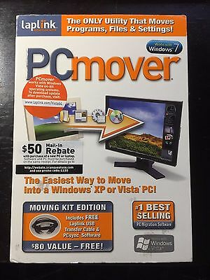 Laplink PC Mover Older Windows 7 Vista XP  Software with Transfer Cable PCSync