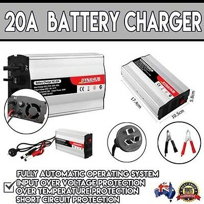 New 12V-240V Battery Charger 20 Amp for Car ATV 4WD Boat Caravan Motorcycle 20A