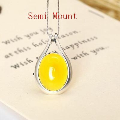 925 Sterling Silver 13.7x17.7mm Oval Cabochon Semi Mount Pendant Charm Setting