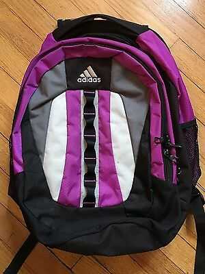 2be1a7f35d ADIDAS LOAD SPRING Padded Backpack SCHOOL Hiking Heavy Duty Laptop Purple  BLACK