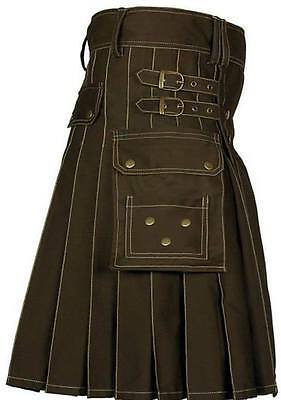 Men Utility kilt costume Highland 100%Brown Cotton Adult Custom Made HandMade