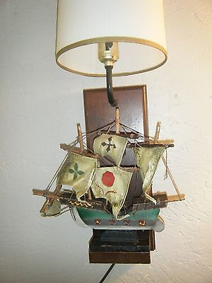 REDUCED Unique Folk Art Vintage Wall Lamp with a Wood Base Holding a Model Ship