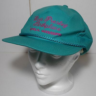 Elvis Presley birthplace Tupelo Miss hat -Green /pink letters YoungAn Very nice!