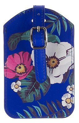 Trendz Blue Floral Hawaiian Luggage Name Tag Suitcase Travel Label PU Leather