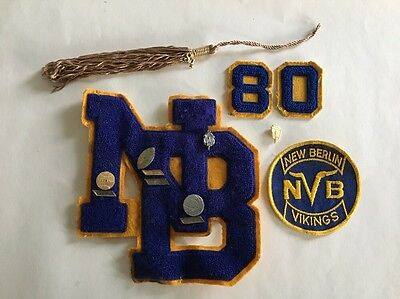 NEW BERLIN VIKINGS Letterman Patch Sports/Honor Pins, #'s, Tassel Lot Wisconsin