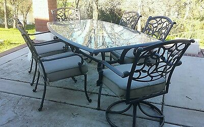 Outdoor 7-Piece Patio Furniture Set, Vintage 4 Dining and 2 Swivel Chairs Table