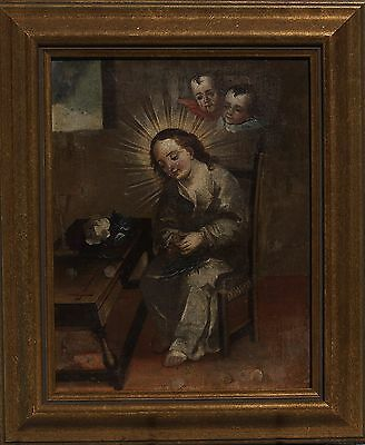 Crown of Thorns 18 Century Oil Painting on Panel Continental School Icon