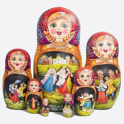 Nesting Doll Matryoshka Russian Doll Hand Painted in Russia Traditional Dances