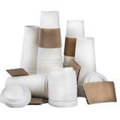 100 Paper Coffee Cup/Disposable Hot Cup 20 oz. WHITE with 100 Cappuccino Lids