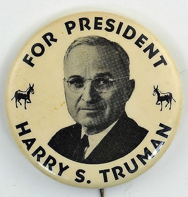 """For President Harry S. Truman 1.25"""" Picture Button/Pin"""