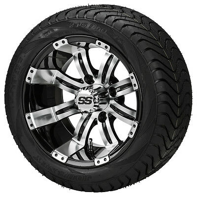(4)Golf Cart 205/30-14 Tire on a 14x7 Black/Machined Casino Wheel w/FREE Freight