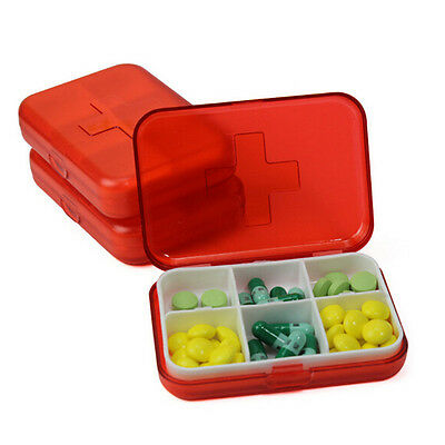 Pocket Size Pill Box Medicine Tablets Storage Case 6 compartments Small Packet