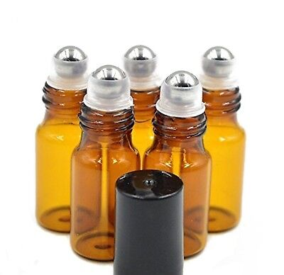 24 Pcs 5ml Empty Brown Glass Roll-on Bottles with Stainless Steel Roller Ball