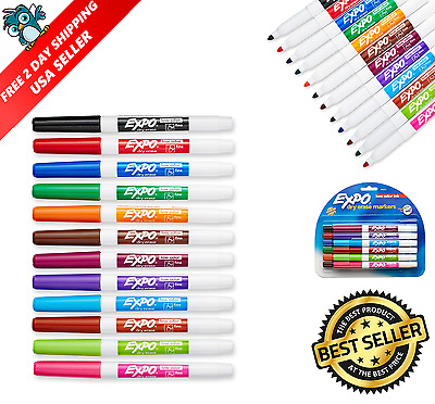 Expo 2 Low-Odor Dry Erase Markers, Fine Point, 12-Pack, Assorted Colors