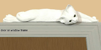 White Lazy cat figurine door topper with green eyes (silhouette)