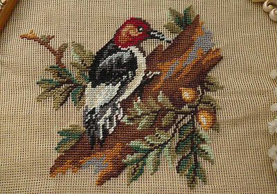 Vtg. Handcrafted Preworked Needlepoint Canvas Woodpecker
