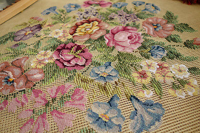 "30""Amazing Piece Pink Purple Blue Vasious Flowers Petit Point Needlepoint Canvas"