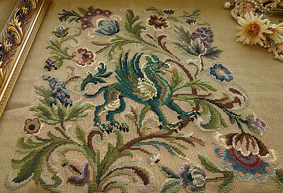 "56"" HUGE Needlepoint Canvas For Chair Upholstery Dragon & Scrolls"