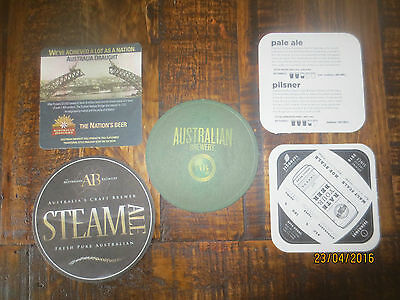 5 Different AUSTRALIAN  BREWERY Craft Brewery, ,collectable  COASTERS