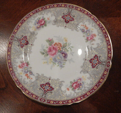 "Shelley ""Georgian"" Red Pattern 13361 Bread Plate 6 7/8"" Made In England"
