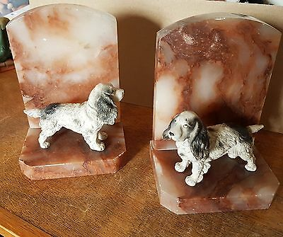 Antique Alabaster Bookends with Cold Painted Pewter Spaniels Circa 1930's