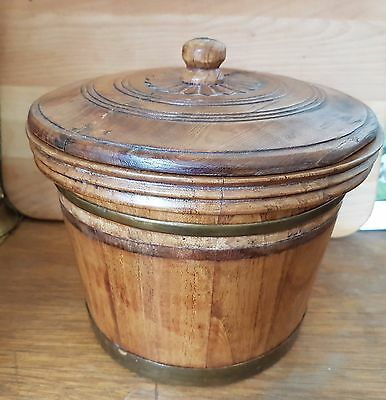 Vintage Oak Storage Jar with Lid - Cooper Made with brass bands c1900
