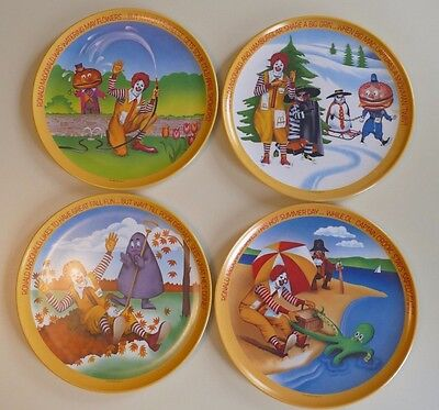 "4 McDonald's Four Seasons Plates Set 1977 VTG 10"" Melamine Plastic Dinner"