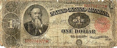 1891 1$ Red Seal Stanton, United States Treasury Coin Note, Old Large Note