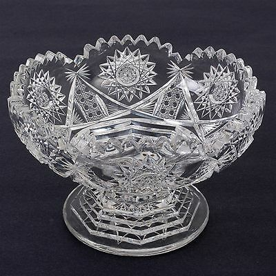 American Brilliant Period ABP Cut Glass Low Compote Bowl Dish Stepped Base 4.5""