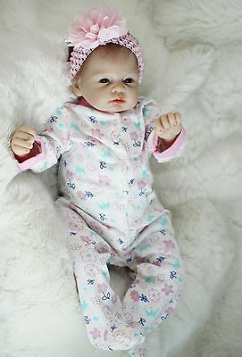 """silicone reborn baby doll 22"""" lifelike soft vinyl With Clothes lifelike Full New"""