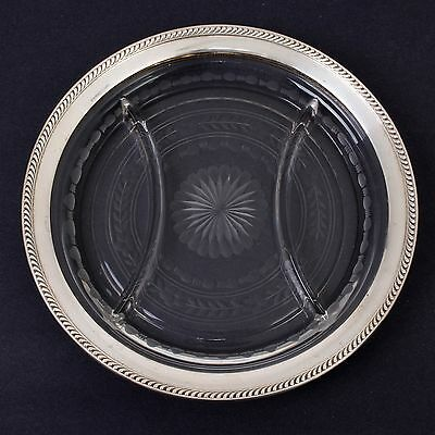 Antique Watson Company Sterling Silver & Etched Glass Divided Serving Plate 10""