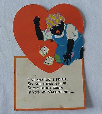 Vintage 1930s Black Americana Valentine Card Dice Mechanical Gambling