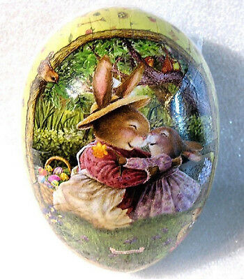 Vintage Easter Egg (3x2.5) S Wheeler MAMA BUNNY HUGS Holly Pond Hill MINT German