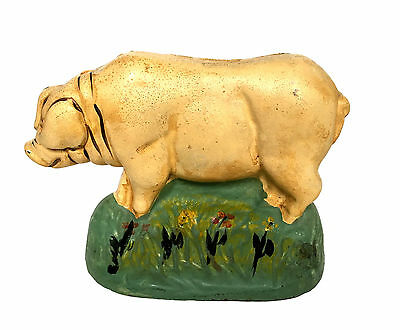 FARM PIG Door Stop Bookend Cast Iron Cold Painted Foundry Rare Original Sow