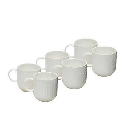NEW Salt & Pepper Emboss Mug 300ml Set of 6 (RRP $40)