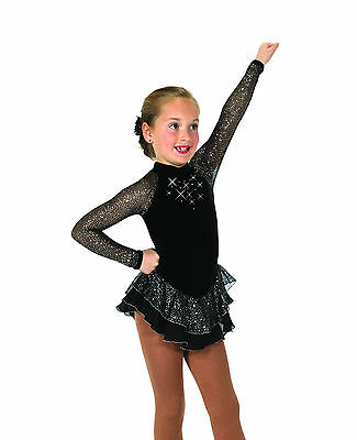 New Competition Skating Dress Jerry's 10 Starshine Dress - Black Youth 6-8