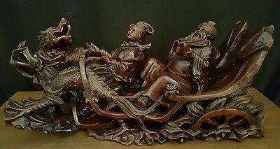 LARGE Hand Carved Chinese Hardwood Dragons and two figures