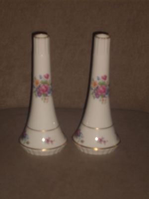 "Rare Pair Vintage Lenox Ivory Bud Vases With ""lenox Rose"" Pattern Old Blue Mark"