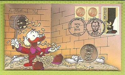 Peterman Hand Painted Uncle Scrooge 2010 Abraham Lincoln Dollar Cover