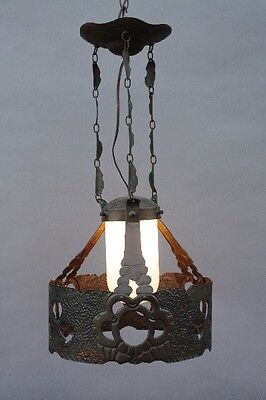 1920s Hammered Copper Chandelier Antique Spanish Revival Light Lighting (9798)