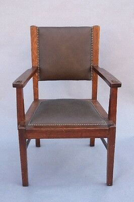 1910 Arts & Crafts Armchair Antique Wood w Riveted Leather Craftsman (9801)