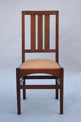 1910 Arts & Crafts Side Chair Antique Wood w Leather Vintage Craftsman (9807)